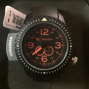 Black/ Orange unisex watch, plastic black PU Strap